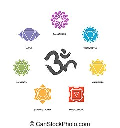 Colorful chakra symbol set and om calligraphy