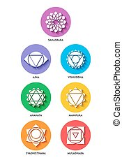 Chakra icon color set flat style isolated