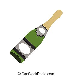 Bottle of champagne flat icon