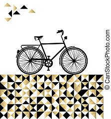 Bike concept with hipster gold background