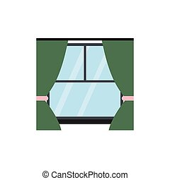 Window with curtains flat icon isolated on white background