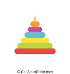 Pyramid toy flat icon isolated on white background