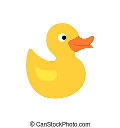 Duck toy flat icon isolated on white background