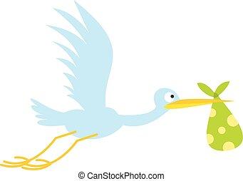 Stork baby flat icon isolated on white background