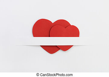 Two red paper Valentine`s hearts - Two red paper Valentine`s...