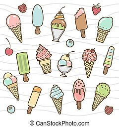 Vector icon set of yummy colored ice cream Collection of...