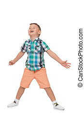 The boy put his hands - The child rejoices spread wide his...