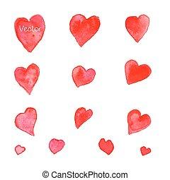 Set of watercolor hearts. Vector.