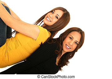 Two Sisters Lean On Each Other - two sisters leaning on each...