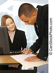 Business People Making A Deal In Office - business woman...