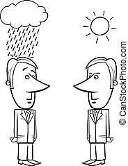 good and bad weather for business - Black and White Concept...