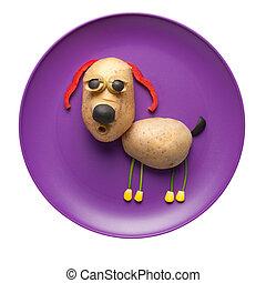 divertido, perro, hecho, de, vegetales, en, púrpura,...