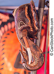 african elephant carved in wood