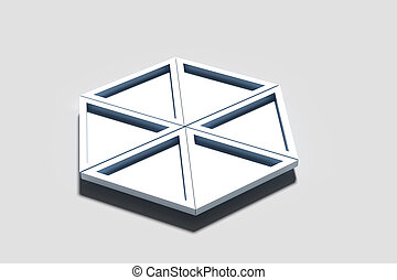 Three-dimensional geometrical triangles on white background