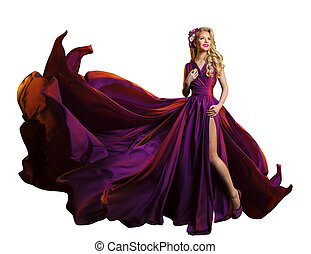 Woman Dress Flying Fabric, Beautiful Fashion Model in Purple...