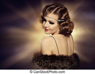 Woman Retro Portrait, Fashion Model Turning over Shoulder, Jewelry Makeup