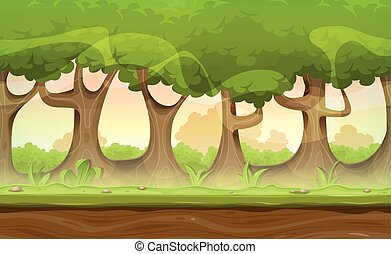 Seamless Forest Trees And Hedges Landscape For Game Ui -...