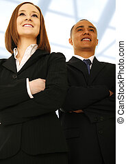 Business Team Vision Looking Forward - Two business people...