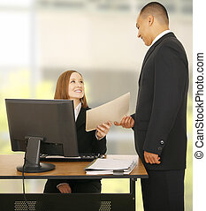 Handling Report To Business Team - a business man hand over...