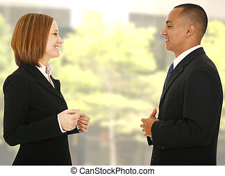 Informal Business Talk - close up shot of two business...
