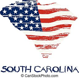 American flag in South Carolina map. Vector grunge style