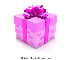 heart box - gift with ribbon on white background