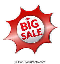 Big Sale shadow - Asymmetrical red sale button. Label for...