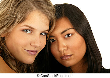 Close Up Best Friend - isolated asian and caucasian girls...