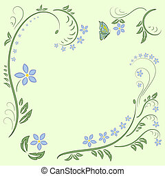 floral ornament design - Floral ornament with butterflies on...