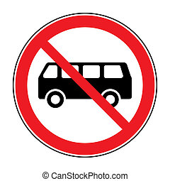 no bus sign - No or Not allowed buses symbol Traffic sign...