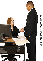 Isolated Shot Of Business People Make A Deal - isolated shot...