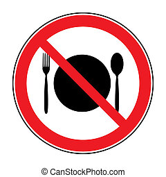 no food sign - Do not eat icon. Cutlery symbol. Knife and...