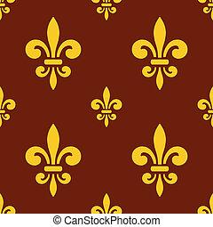 kunglig, lilja, mönster