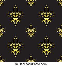 kunglig, lilja,  seamless, mönster