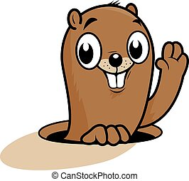Funny groundhog character - Vector Illustration of a cute...