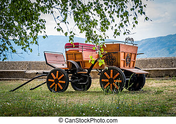 Retro style horsedrawn carriage in the Ostrog monastery....