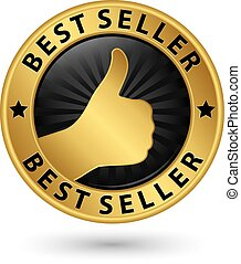Best seller golden label, vector illustration