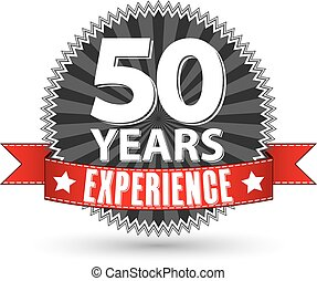 50 years experience retro label with red ribbon, vector...