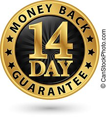 14 day money back guarantee golden sign, vector illustration