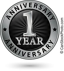 1 year anniversary silver label, vector illustration