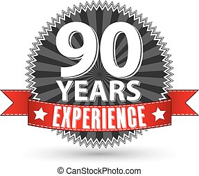 90 years experience retro label with red ribbon, vector...