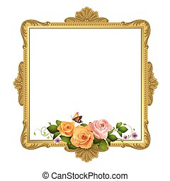 Golden frame with roses