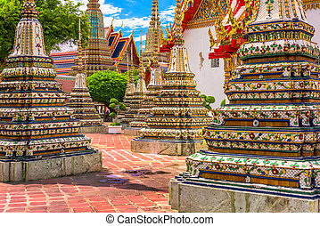 Wat Pho Temple grounds in Bangkok, Thailand