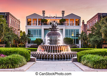 Charleston South Carolina Fountain - Charleston, South...