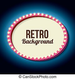Retro frame circle with neon lights - Pink retro frame 3d...