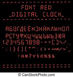 Font red digital clock (cyrillic)