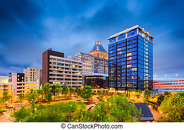 Greensboro, North Carolina, USA downtown city park and...