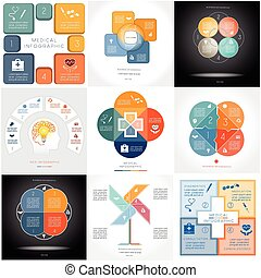 Infographics conceptual cyclic processes 9 templates - Set 9...