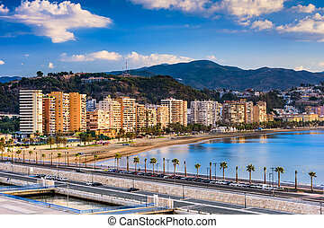 Malaga, Spain Beach - Malaga, Spain resort skyline at...