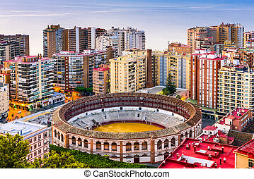 Malaga Spain Bullring - Malaga, Spain cityscape at the...